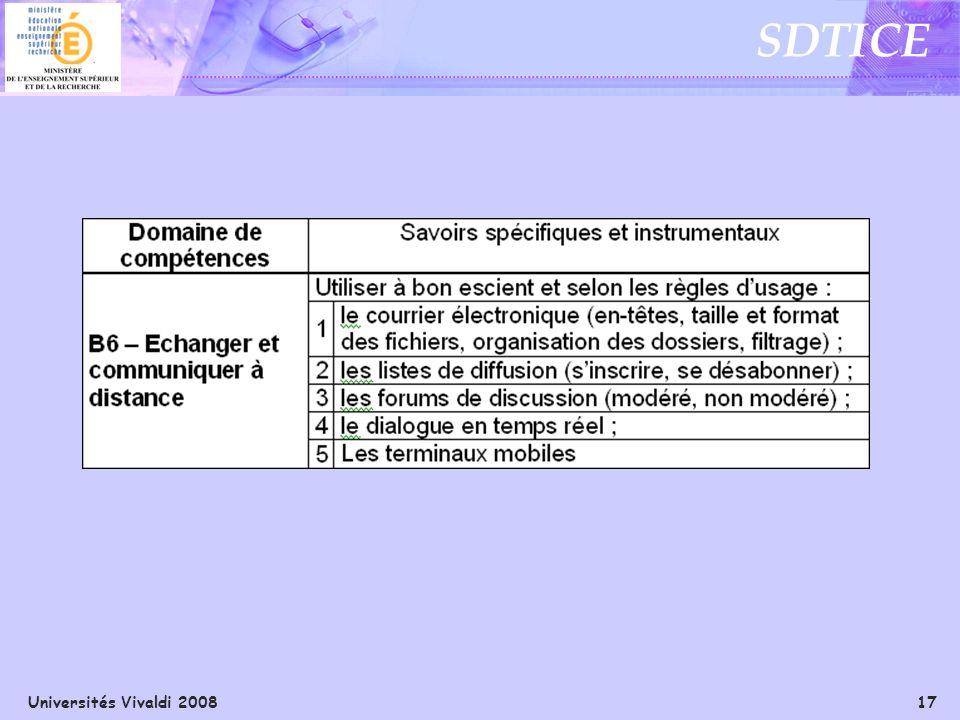 Universités Vivaldi 2008 17 SDTICE