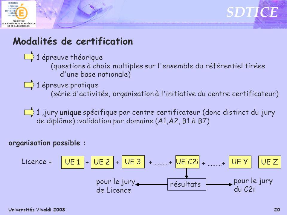 Universités Vivaldi 2008 20 SDTICE Modalités de certification 1 épreuve théorique (questions à choix multiples sur l'ensemble du référentiel tirées d'