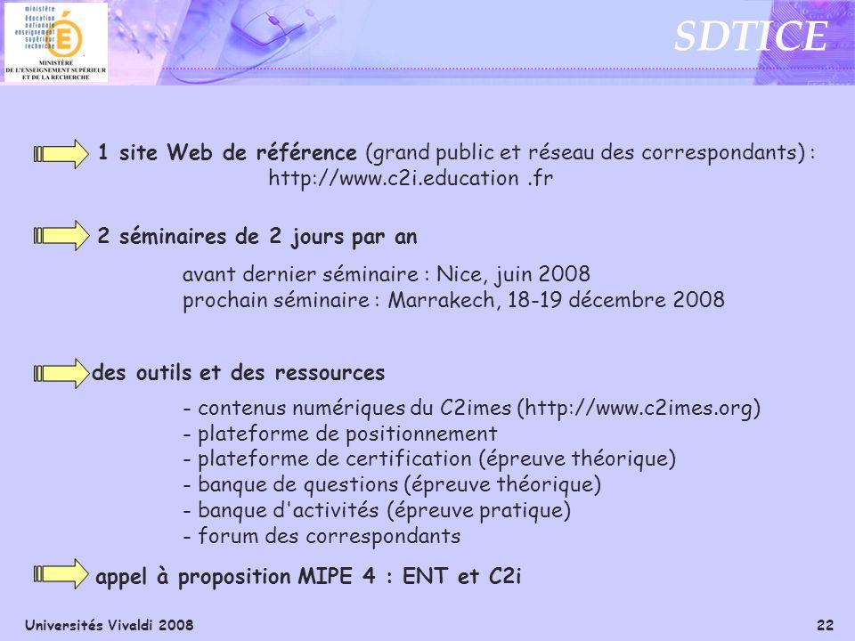 Universités Vivaldi 2008 22 SDTICE 1 site Web de référence (grand public et réseau des correspondants) : http://www.c2i.education.fr 2 séminaires de 2