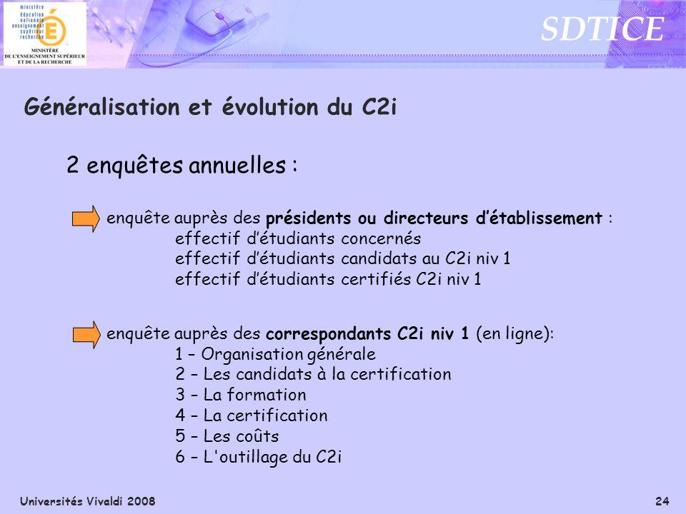 Universités Vivaldi 2008 24 SDTICE Généralisation et évolution du C2i 2 enquêtes annuelles : enquête auprès des présidents ou directeurs détablissemen