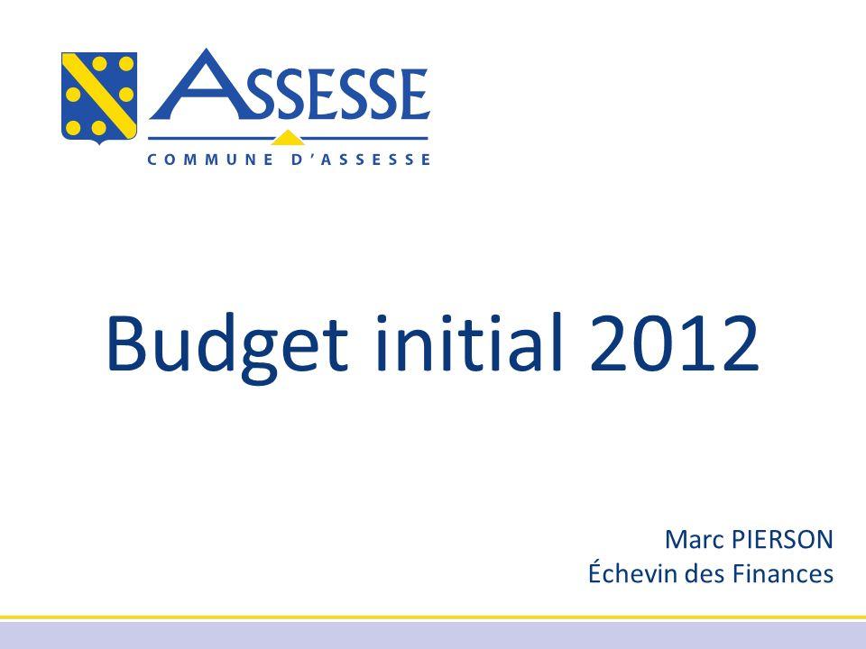 Budget initial 2012 Marc PIERSON Échevin des Finances