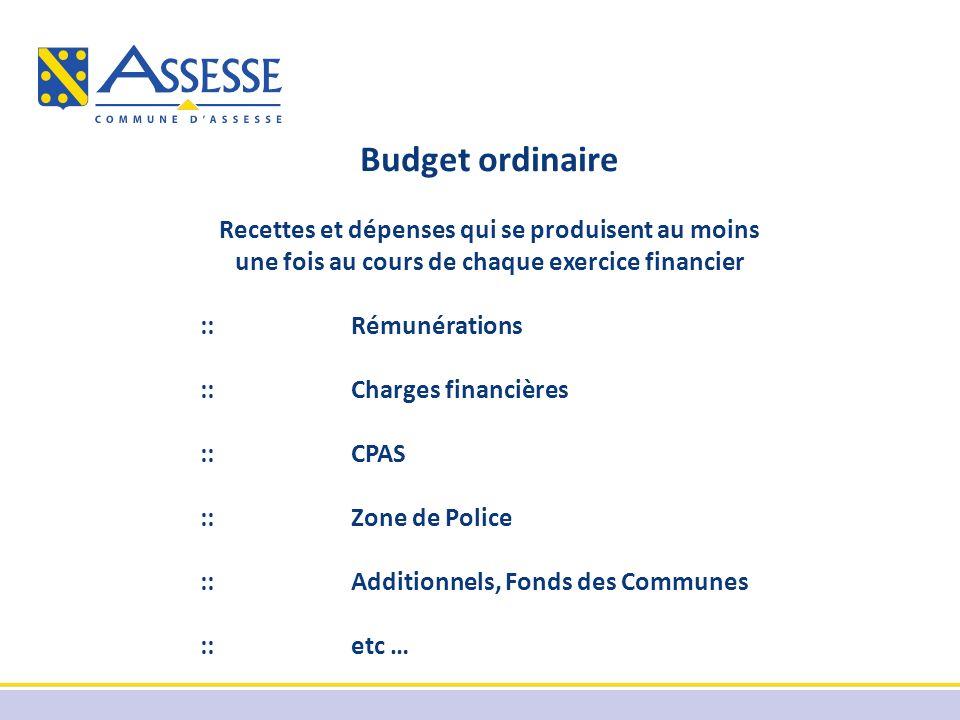 Budget ordinaire Recettes et dépenses qui se produisent au moins une fois au cours de chaque exercice financier ::Rémunérations ::Charges financières