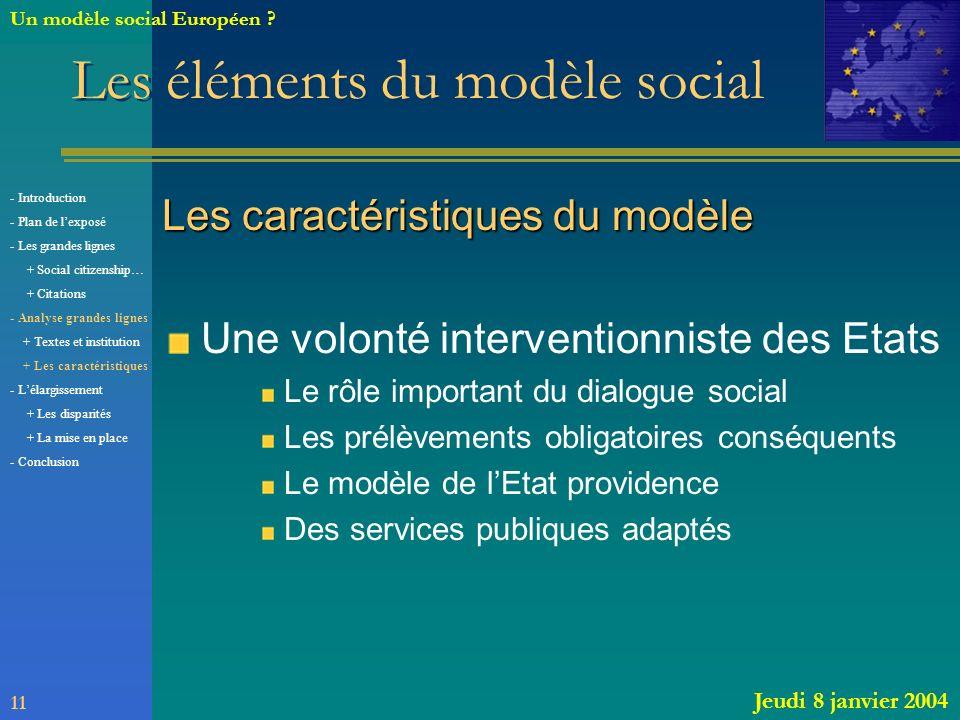 Les caractéristiques du modèle Une volonté interventionniste des Etats Le rôle important du dialogue social Les prélèvements obligatoires conséquents