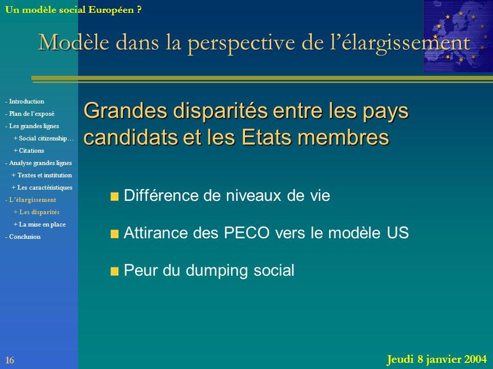 Modèle dans la perspective de lélargissement Grandes disparités entre les pays candidats et les Etats membres Différence de niveaux de vie Attirance d