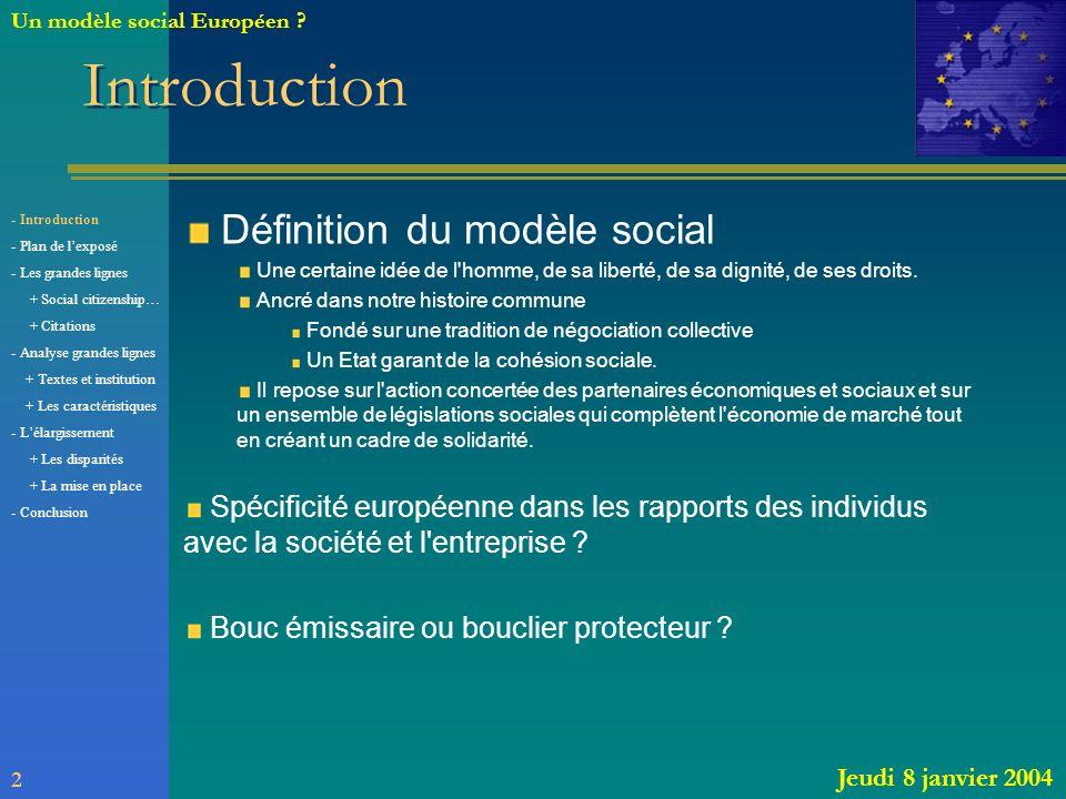 Introduction Définition du modèle social Une certaine idée de l'homme, de sa liberté, de sa dignité, de ses droits. Ancré dans notre histoire commune