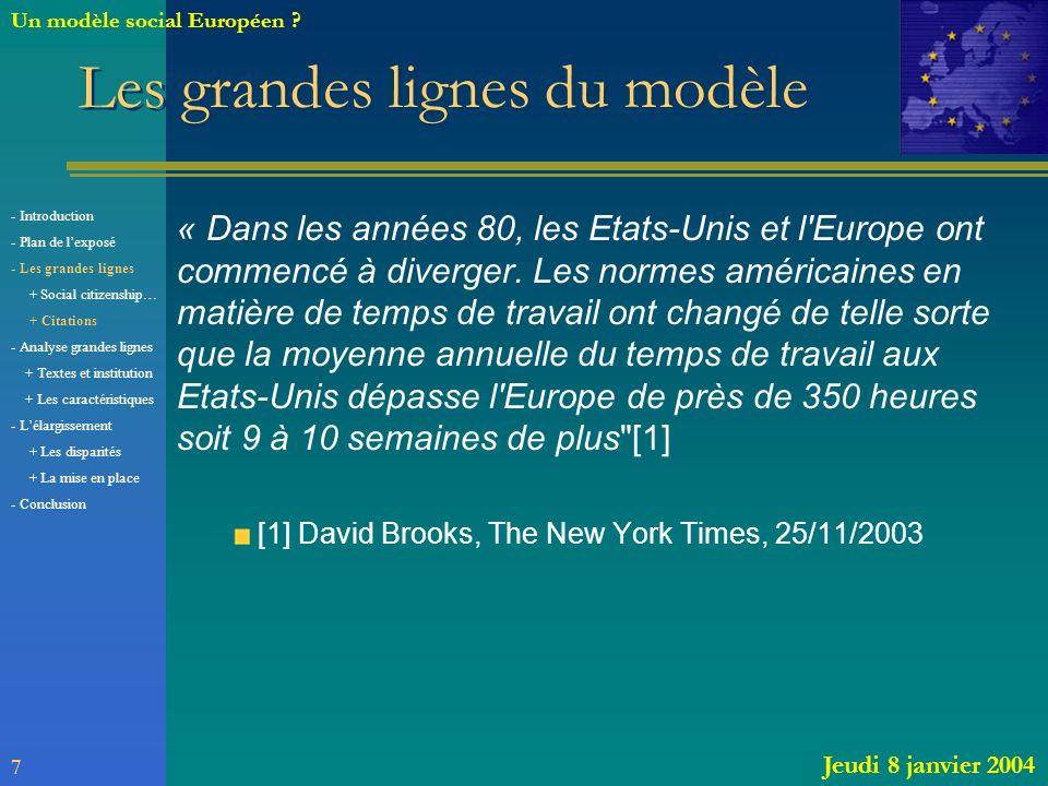 Les grandes lignes du modèle « Dans les années 80, les Etats-Unis et l'Europe ont commencé à diverger. Les normes américaines en matière de temps de t