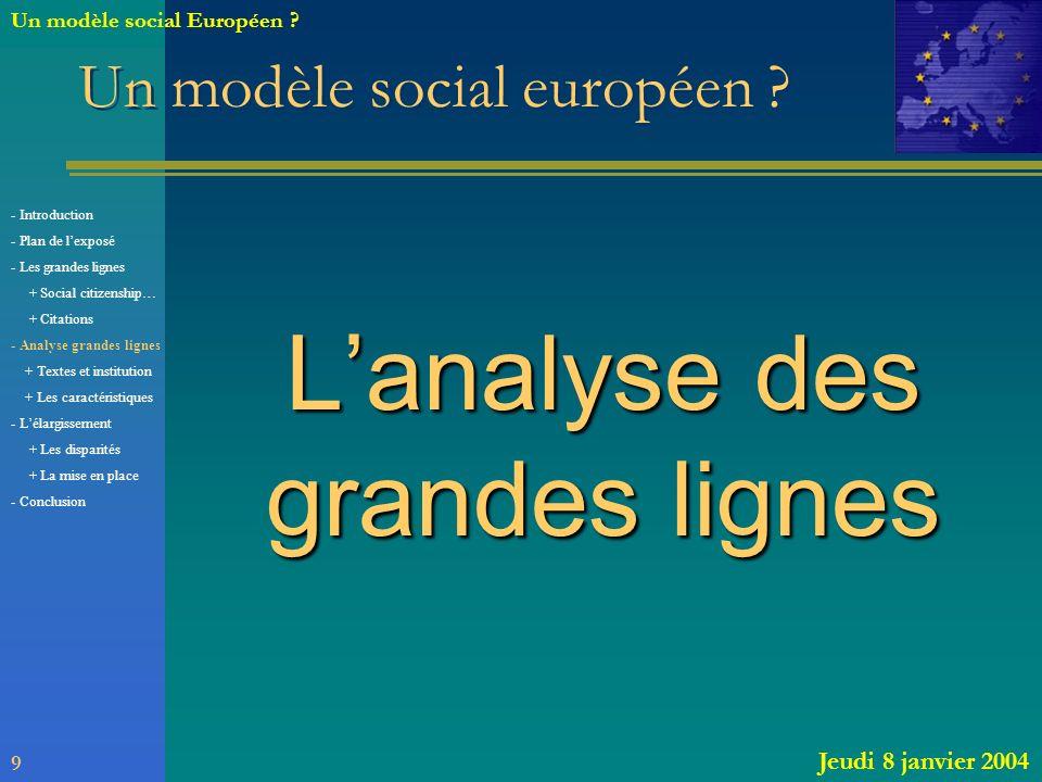 Un modèle social européen ? Lanalyse des grandes lignes 9 Jeudi 8 janvier 2004 Un modèle social Européen ? - Introduction - Plan de lexposé - Les gran