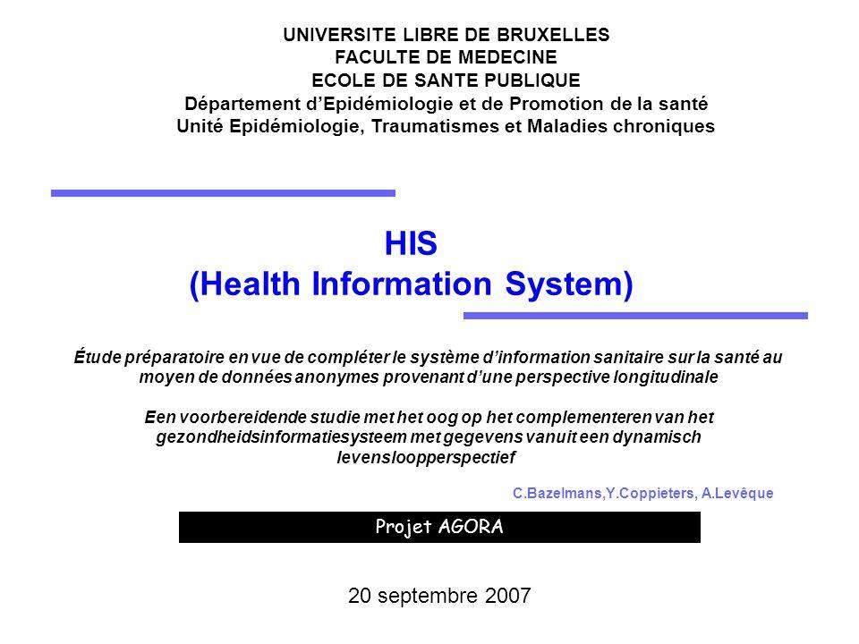 Projet AGORA UNIVERSITE LIBRE DE BRUXELLES FACULTE DE MEDECINE ECOLE DE SANTE PUBLIQUE Département dEpidémiologie et de Promotion de la santé Unité Ep