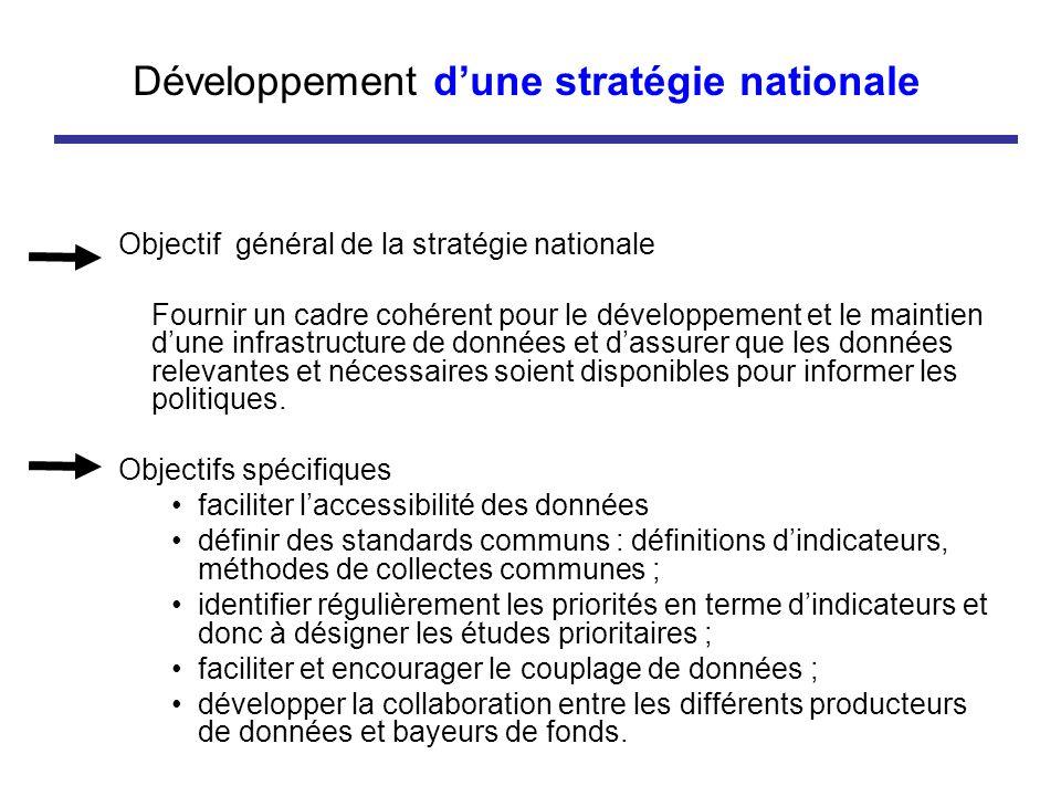 Développement dune stratégie nationale Objectif général de la stratégie nationale Fournir un cadre cohérent pour le développement et le maintien dune