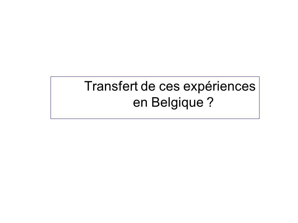 Transfert de ces expériences en Belgique ?