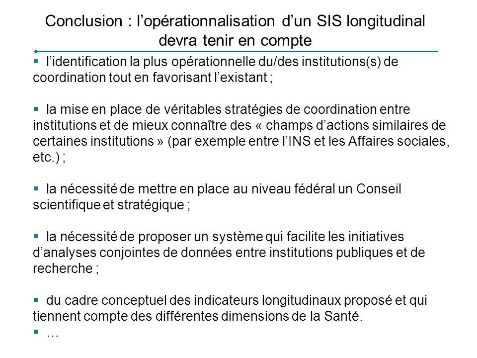 Conclusion : lopérationnalisation dun SIS longitudinal devra tenir en compte lidentification la plus opérationnelle du/des institutions(s) de coordina