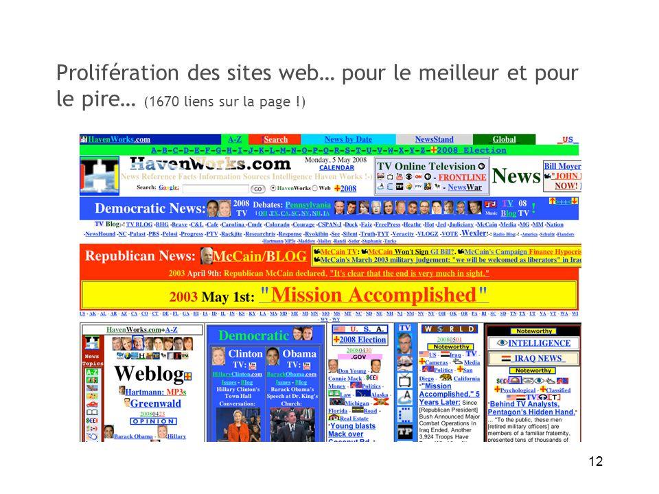 12 Prolifération des sites web… pour le meilleur et pour le pire… (1670 liens sur la page !)
