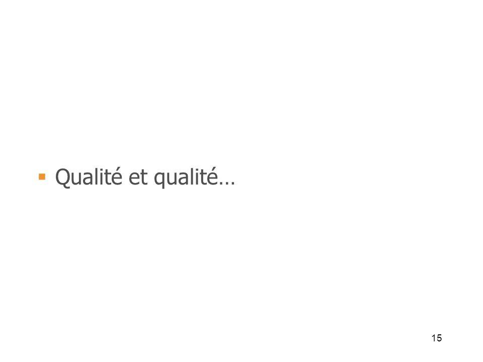 15 Qualité et qualité…
