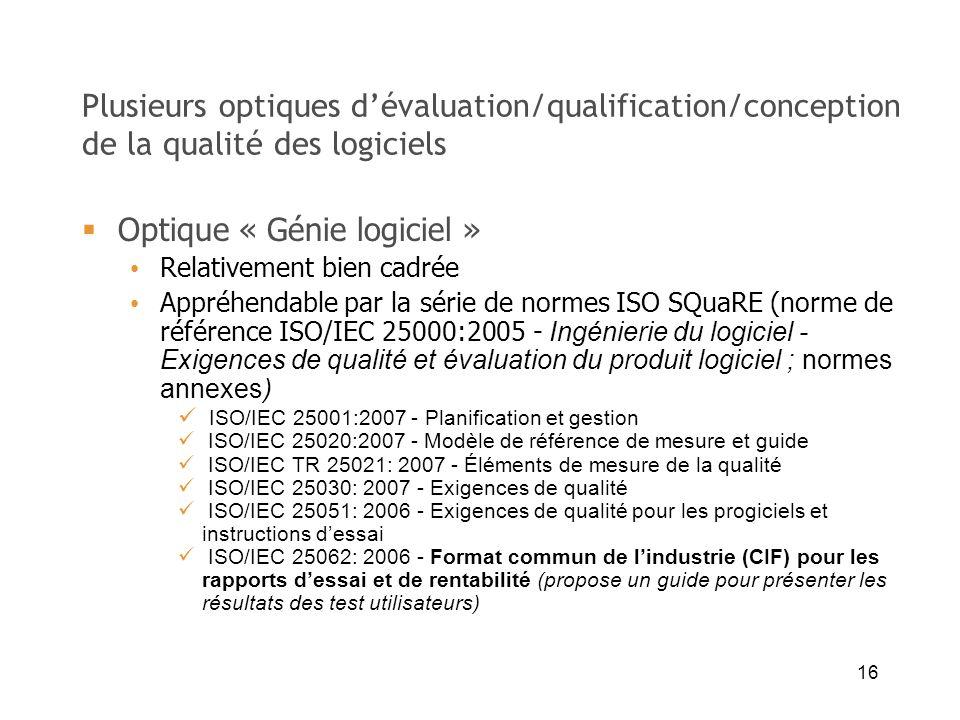 16 Plusieurs optiques dévaluation/qualification/conception de la qualité des logiciels Optique « Génie logiciel » Relativement bien cadrée Appréhendab