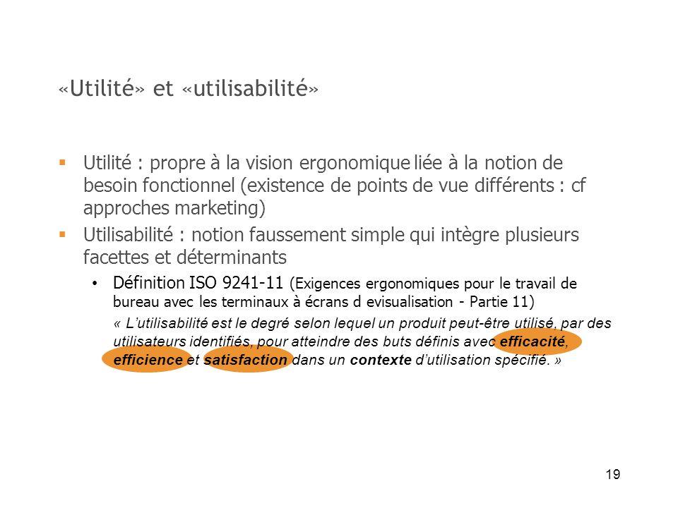 19 «Utilité» et «utilisabilité» Utilité : propre à la vision ergonomique liée à la notion de besoin fonctionnel (existence de points de vue différents