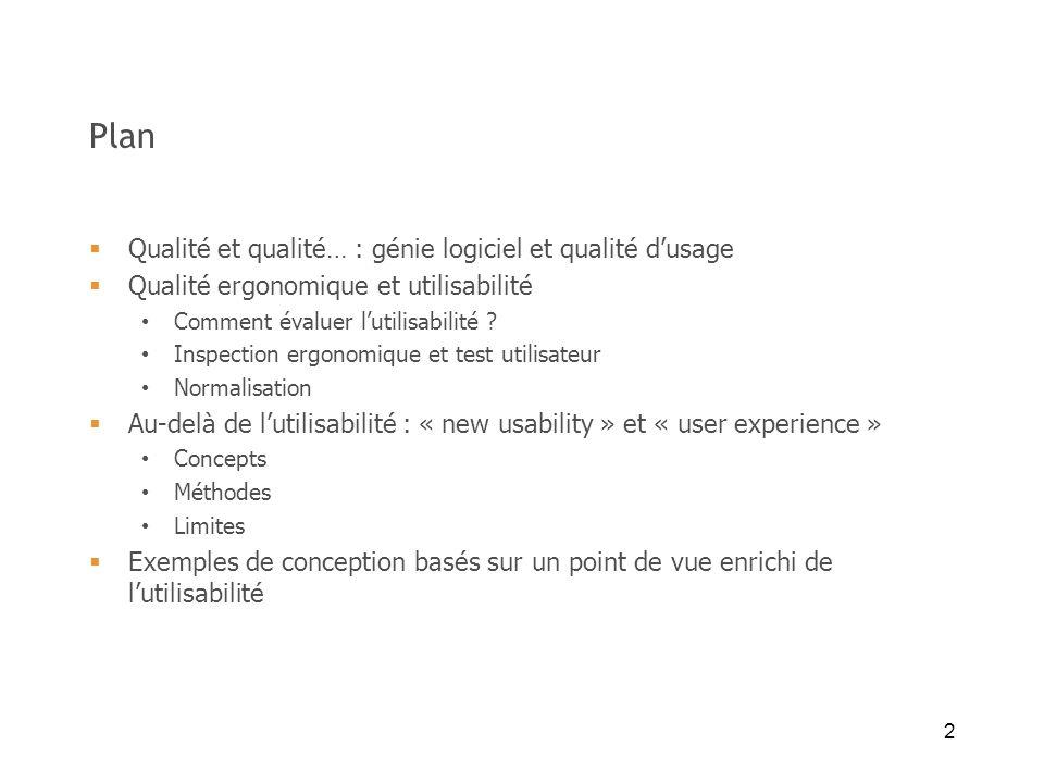 2 Plan Qualité et qualité… : génie logiciel et qualité dusage Qualité ergonomique et utilisabilité Comment évaluer lutilisabilité ? Inspection ergonom