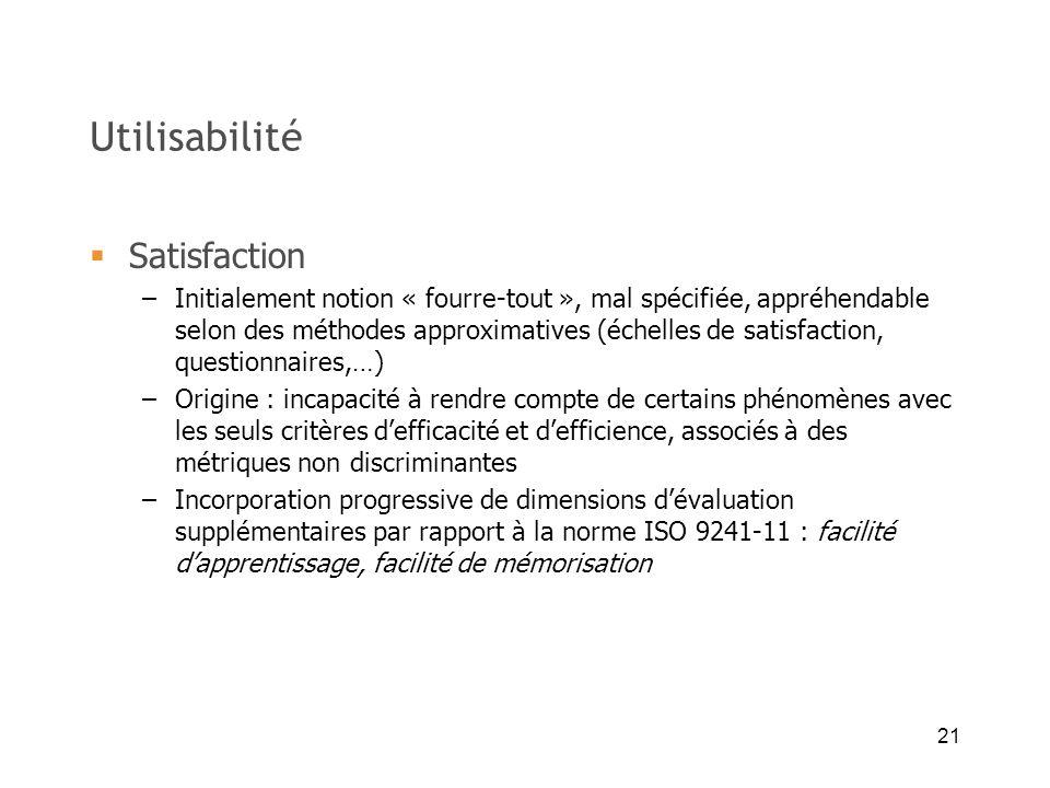 21 Utilisabilité Satisfaction –Initialement notion « fourre-tout », mal spécifiée, appréhendable selon des méthodes approximatives (échelles de satisf