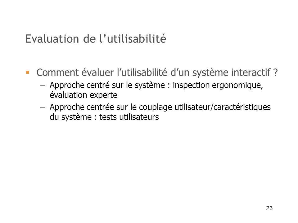 23 Evaluation de lutilisabilité Comment évaluer lutilisabilité dun système interactif ? –Approche centré sur le système : inspection ergonomique, éval