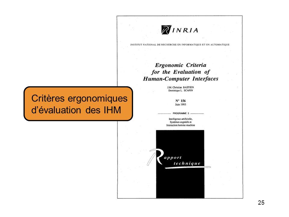 25 Critères ergonomiques dévaluation des IHM