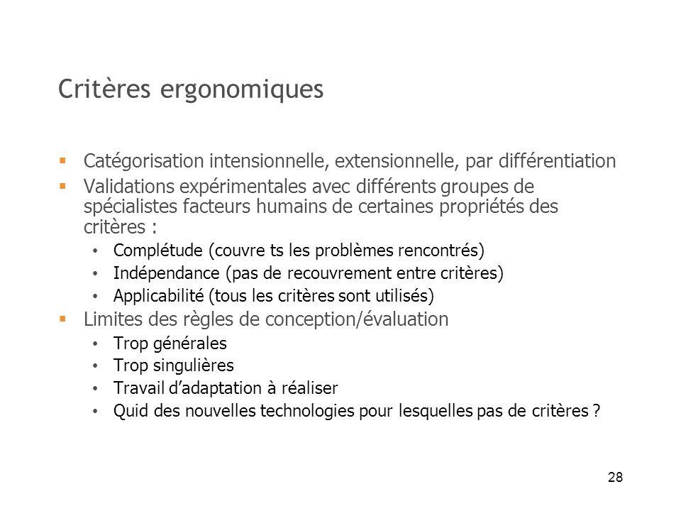 28 Critères ergonomiques Catégorisation intensionnelle, extensionnelle, par différentiation Validations expérimentales avec différents groupes de spéc
