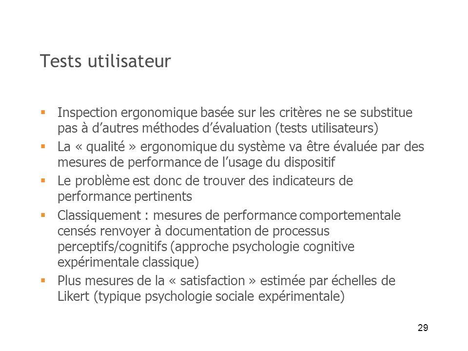 29 Tests utilisateur Inspection ergonomique basée sur les critères ne se substitue pas à dautres méthodes dévaluation (tests utilisateurs) La « qualit
