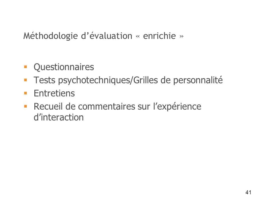 41 Méthodologie dévaluation « enrichie » Questionnaires Tests psychotechniques/Grilles de personnalité Entretiens Recueil de commentaires sur lexpérie