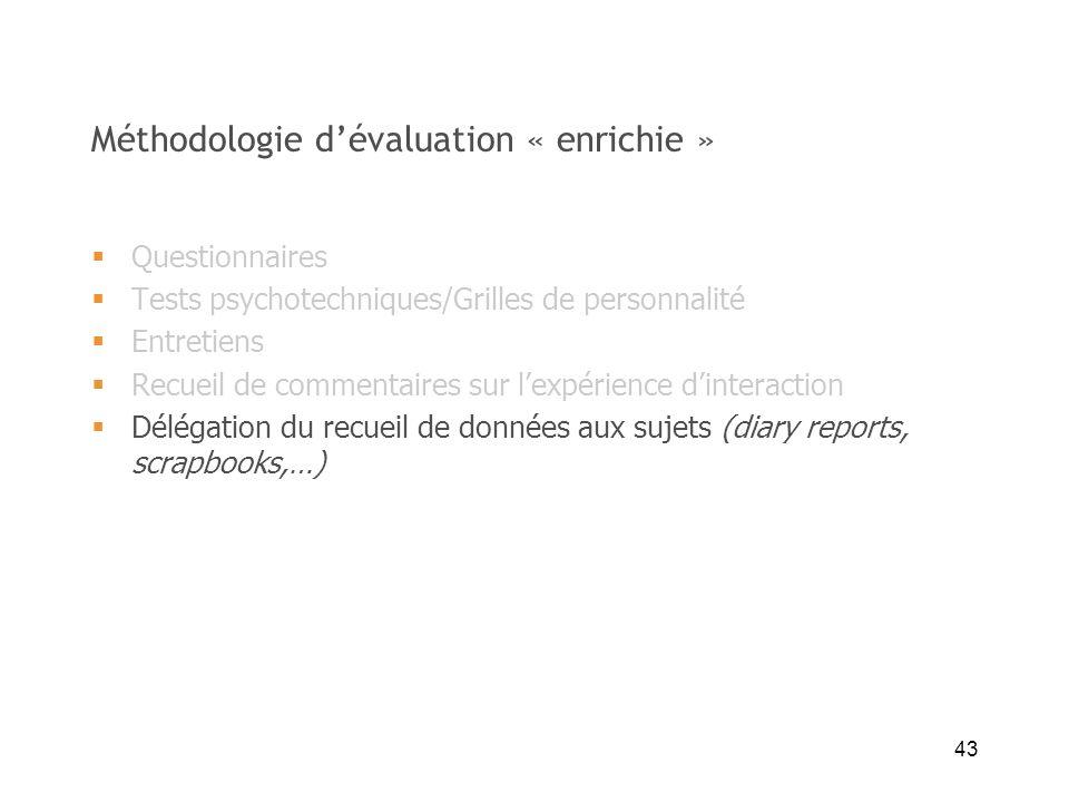 43 Méthodologie dévaluation « enrichie » Questionnaires Tests psychotechniques/Grilles de personnalité Entretiens Recueil de commentaires sur lexpérie