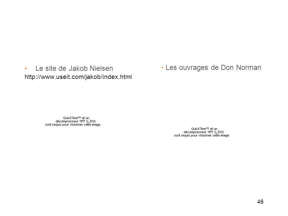 46 Le site de Jakob Nielsen http://www.useit.com/jakob/index.html Les ouvrages de Don Norman