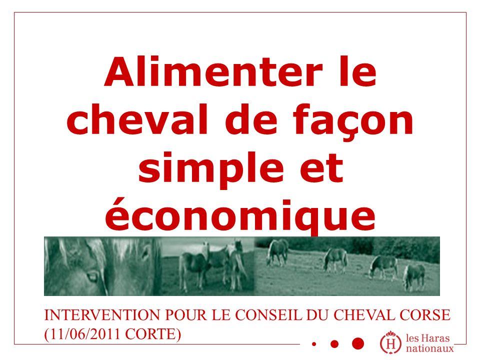 Alimenter le cheval de façon simple et économique INTERVENTION POUR LE CONSEIL DU CHEVAL CORSE (11/06/2011 CORTE)