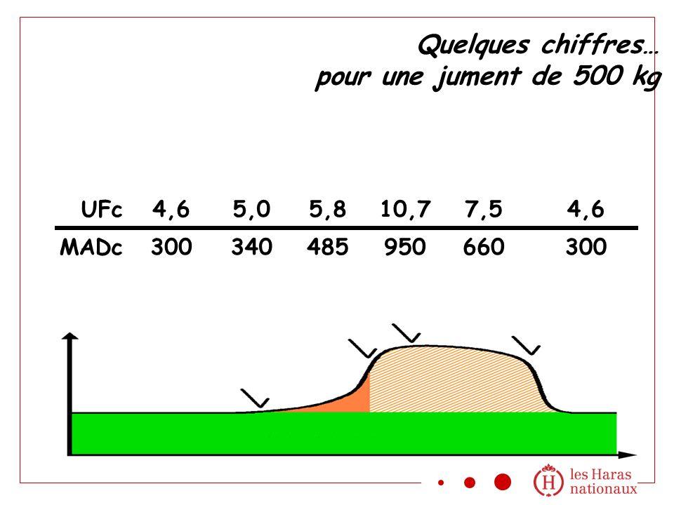 Quelques chiffres… pour une jument de 500 kg 4,6 300 5,0 340 5,8 485 10,7 950 7,5 660 UFc MADc 4,6 300
