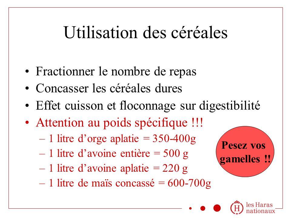 Utilisation des céréales Fractionner le nombre de repas Concasser les céréales dures Effet cuisson et floconnage sur digestibilité Attention au poids spécifique !!.