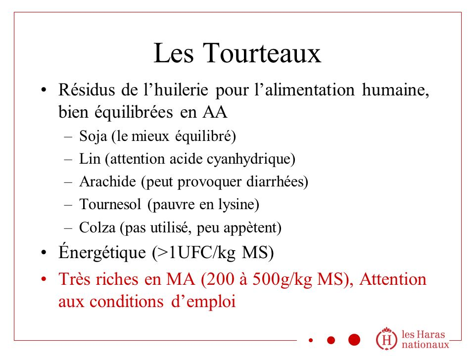 Les Tourteaux Résidus de lhuilerie pour lalimentation humaine, bien équilibrées en AA –Soja (le mieux équilibré) –Lin (attention acide cyanhydrique) –Arachide (peut provoquer diarrhées) –Tournesol (pauvre en lysine) –Colza (pas utilisé, peu appètent) Énergétique (>1UFC/kg MS) Très riches en MA (200 à 500g/kg MS), Attention aux conditions demploi