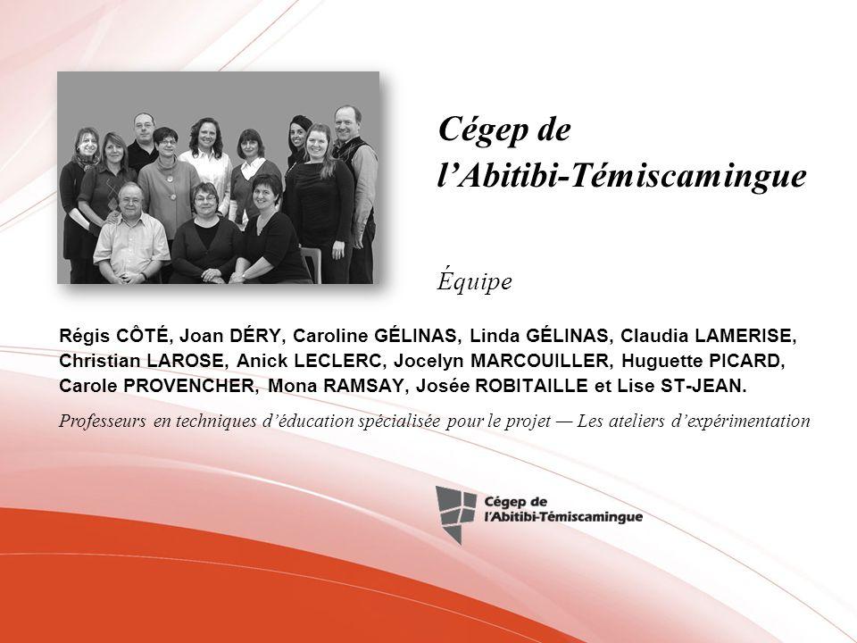 Cégep de lAbitibi-Témiscamingue Régis CÔTÉ, Joan DÉRY, Caroline GÉLINAS, Linda GÉLINAS, Claudia LAMERISE, Christian LAROSE, Anick LECLERC, Jocelyn MAR