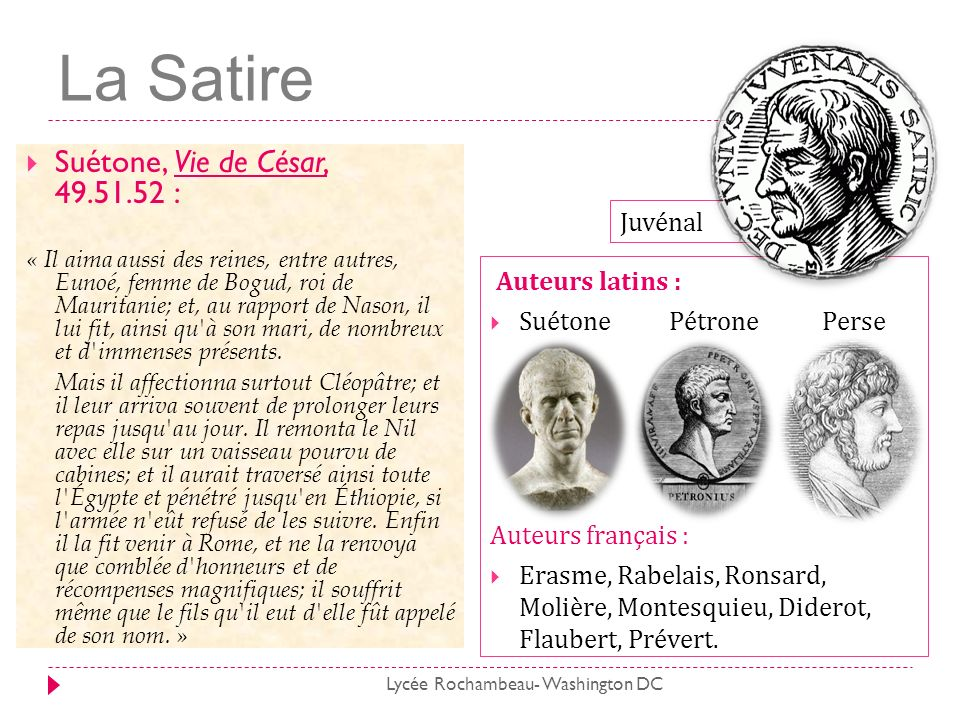 Sources www.site-magister.com http://www.universalis.fr www.theatrons.com/theatre-antique profaide.perso.neuf.fr/latin www.cosmovisions.com/litteratureLatin bcs.fltr.ucl.ac.be/suet/caes ugo.bratelli.free.fr/Juvenal www.shanaweb.net/esope remacle.org/bloodwolf/poetes/fables www.sflt.ucl.ac.be/files www.sflt.ucl.ac.be/files www.cafe.edu www.espace-horace.org www.mediterranees.net/histoire_romaine/empereursl www.larousse.fr/encyclopedie/litterature/ archipope.over-blog.com Lycée Rochambeau- Washington DC