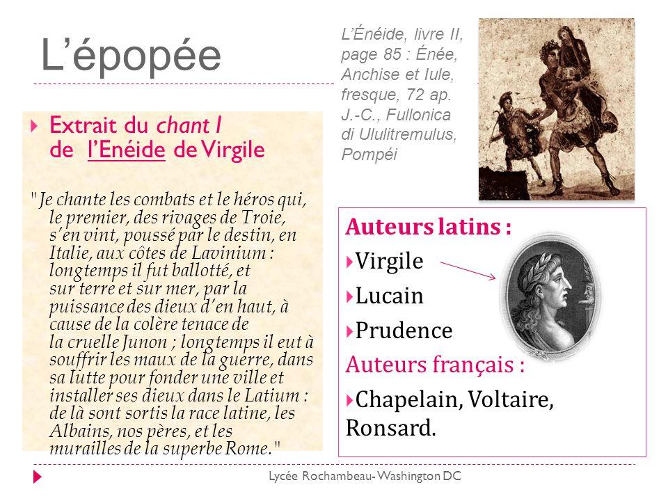 Lépopée Extrait du chant I de lEnéide de Virgile