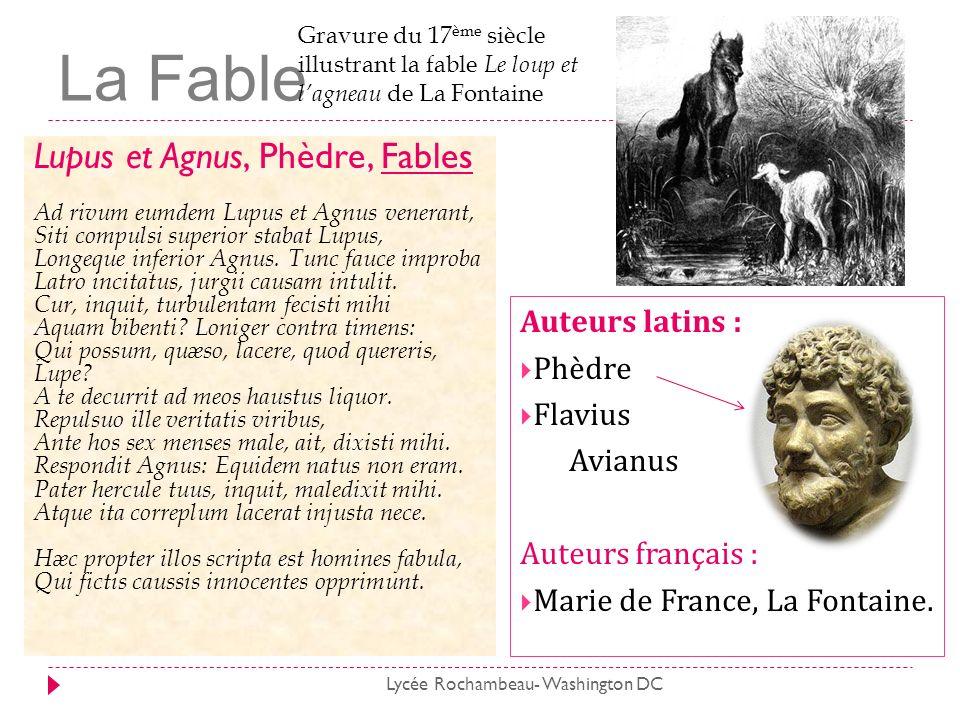La Fable Lupus et Agnus, Phèdre, Fables Ad rivum eumdem Lupus et Agnus venerant, Siti compulsi superior stabat Lupus, Longeque inferior Agnus. Tunc fa