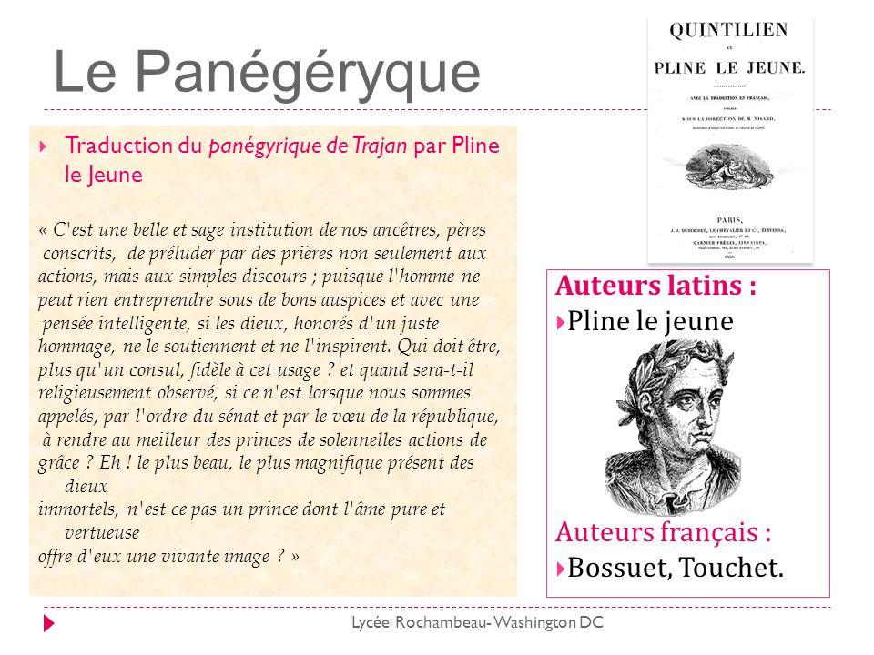 Le Panégéryque Traduction du panégyrique de Trajan par Pline le Jeune « C'est une belle et sage institution de nos ancêtres, pères conscrits, de prélu