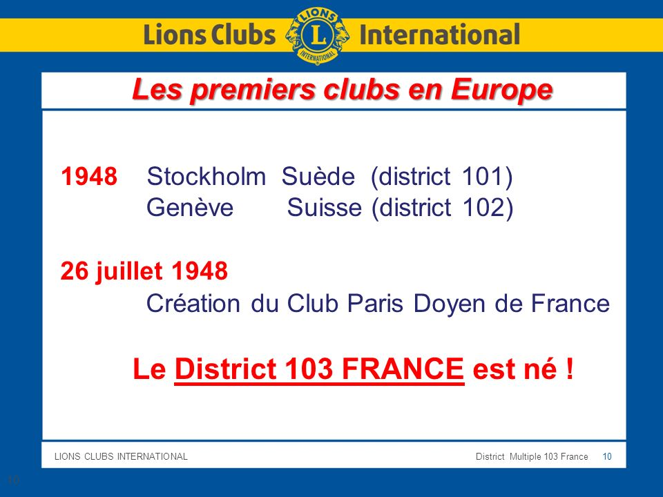 LIONS CLUBS INTERNATIONALDistrict Multiple 103 France 10 Les premiers clubs en Europe 1948 Stockholm Suède (district 101) Genève Suisse (district 102) 26 juillet 1948 Création du Club Paris Doyen de France Le District 103 FRANCE est né .