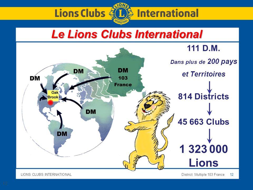LIONS CLUBS INTERNATIONALDistrict Multiple 103 France 12 Le Lions Clubs International 12 111 D.M. Dans plus de 200 pays et Territoires 814 Districts 4