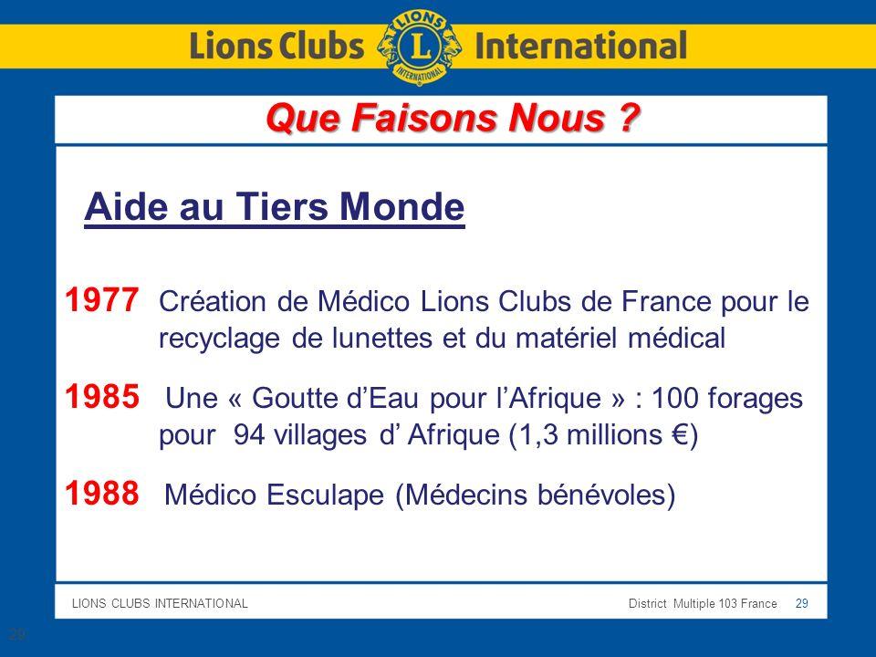 LIONS CLUBS INTERNATIONALDistrict Multiple 103 France 29 Aide au Tiers Monde 1977 Création de Médico Lions Clubs de France pour le recyclage de lunett