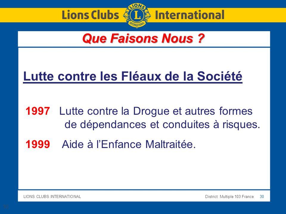LIONS CLUBS INTERNATIONALDistrict Multiple 103 France 30 1997 Lutte contre la Drogue et autres formes de dépendances et conduites à risques. 1999 Aide