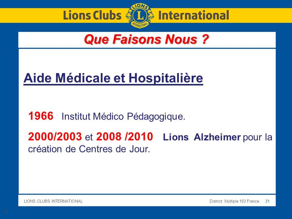 LIONS CLUBS INTERNATIONALDistrict Multiple 103 France 31 1966 Institut Médico Pédagogique. 2000/2003 et 2008 /2010 Lions Alzheimer pour la création de