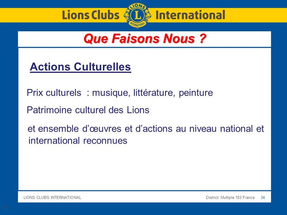 LIONS CLUBS INTERNATIONALDistrict Multiple 103 France 34 Prix culturels : musique, littérature, peinture Patrimoine culturel des Lions Actions Culture
