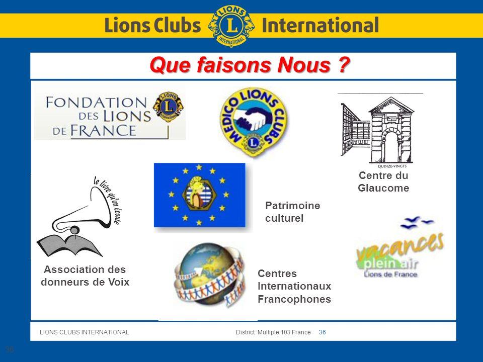 LIONS CLUBS INTERNATIONALDistrict Multiple 103 France 36 36 Association des donneurs de Voix Centre du Glaucome Patrimoine culturel Centres Internatio