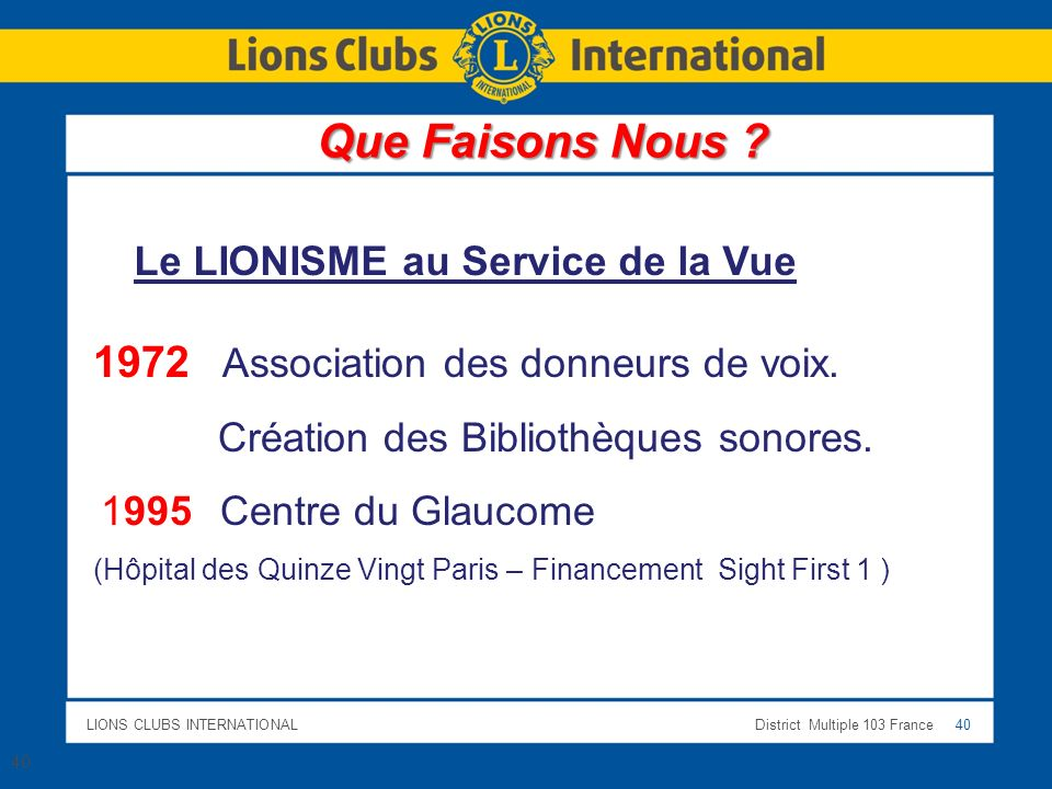 LIONS CLUBS INTERNATIONALDistrict Multiple 103 France 40 Le LIONISME au Service de la Vue 1972 Association des donneurs de voix.