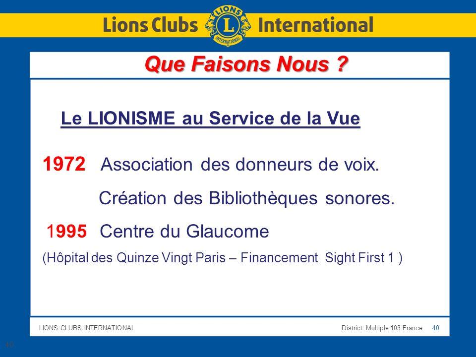 LIONS CLUBS INTERNATIONALDistrict Multiple 103 France 40 Le LIONISME au Service de la Vue 1972 Association des donneurs de voix. Création des Biblioth