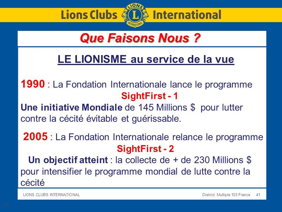 LIONS CLUBS INTERNATIONALDistrict Multiple 103 France 41 1990 : La Fondation Internationale lance le programme SightFirst - 1 Une initiative Mondiale