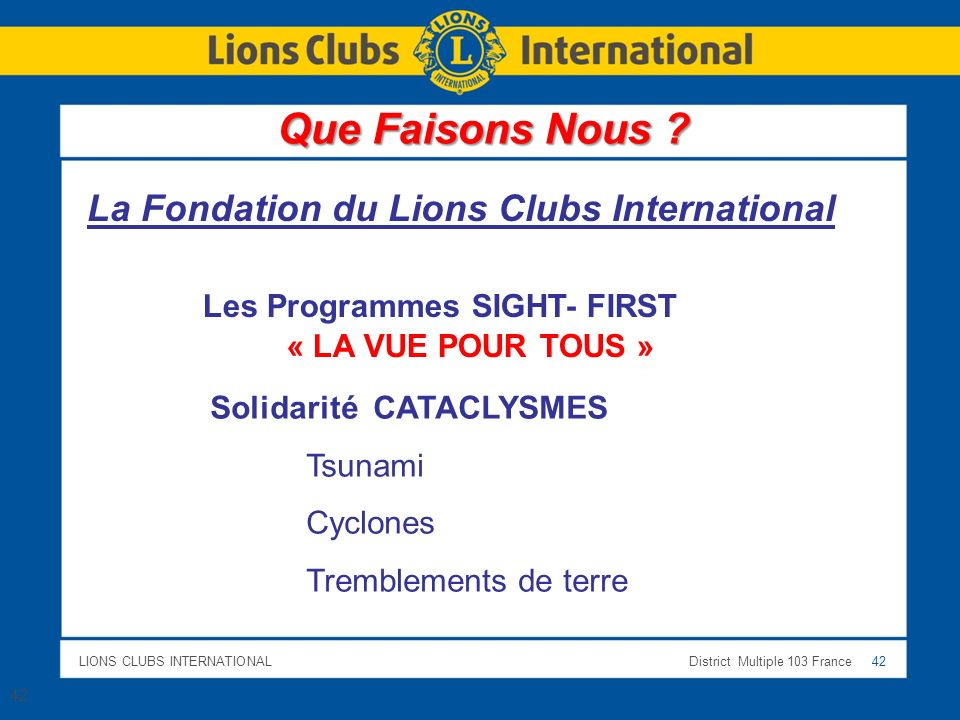 LIONS CLUBS INTERNATIONALDistrict Multiple 103 France 42 La Fondation du Lions Clubs International Les Programmes SIGHT- FIRST « LA VUE POUR TOUS » Solidarité CATACLYSMES Tsunami Cyclones Tremblements de terre 42 Que Faisons Nous ?