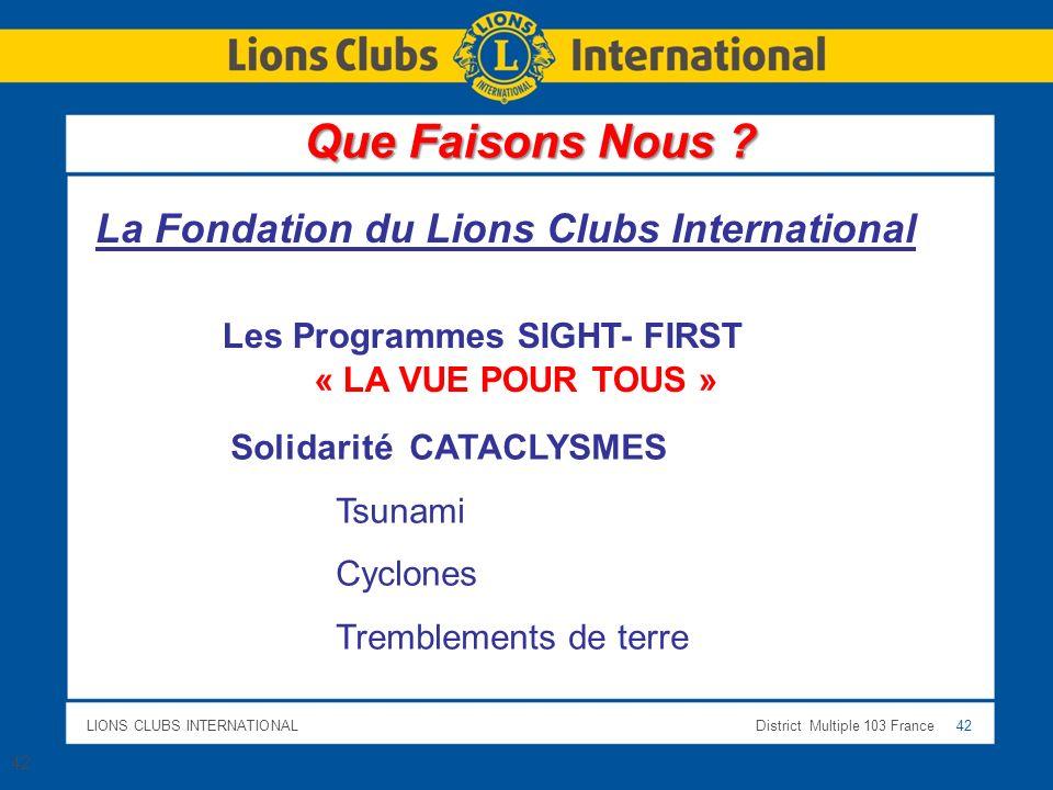 LIONS CLUBS INTERNATIONALDistrict Multiple 103 France 42 La Fondation du Lions Clubs International Les Programmes SIGHT- FIRST « LA VUE POUR TOUS » So