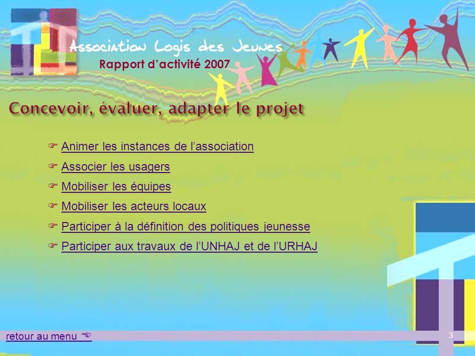 Rapport dactivité 2007 4 retour au menu Concevoir, évaluer, adapter le projet LAssemblée Générale a été réunie le 22 mai 2007.